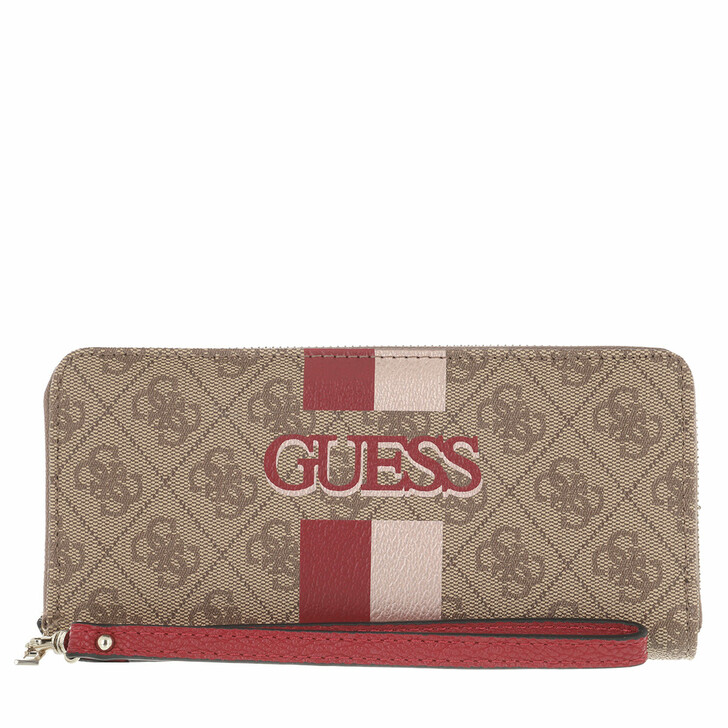 wallets, Guess, Vikky Slg Large Zip Around Latte/Red