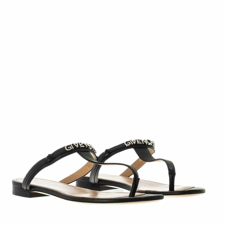 Schuh, Givenchy, Elba Flat Thong Sandals Leather  Black