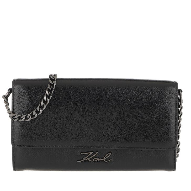 wallets, Karl Lagerfeld, Signature Met Wallet Chain Black
