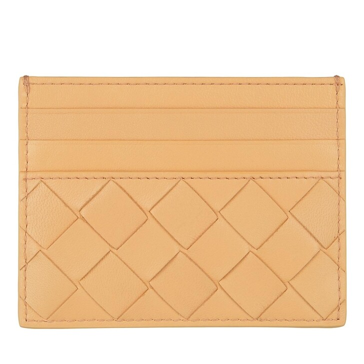Geldbörse, Bottega Veneta, Intreccio Card Holder Almond/Gold
