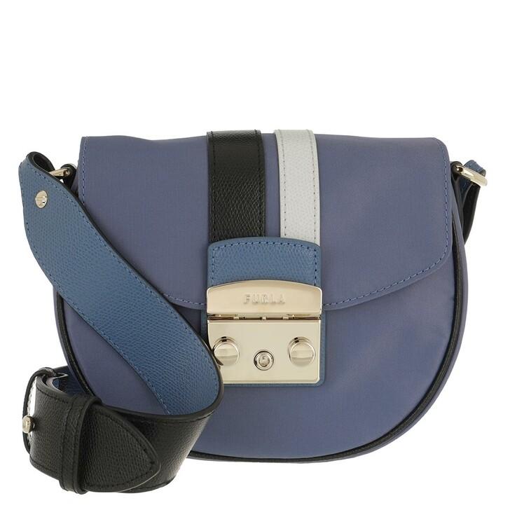 Handtasche, Furla, Metropolis Mini Crossbody Round Blu Denim+Nero+Color Crystal