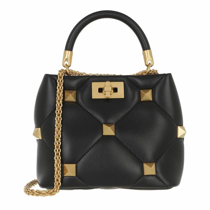 bags, Valentino Garavani, Small Roman Stud Handle Bag Leather Black