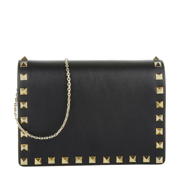 Handtasche, Valentino, Rockstud Portatutto Pouch Black