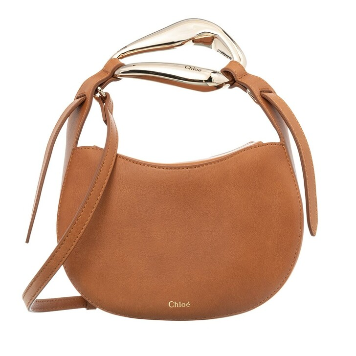 Handtasche, Chloé, Small Kiss Shoulder Bag Grained Leather Arizona Brown