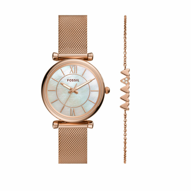 Uhr, Fossil, Carlie Three-Hand Mesh Watch and Bracelet Set Rose Gold-Tone