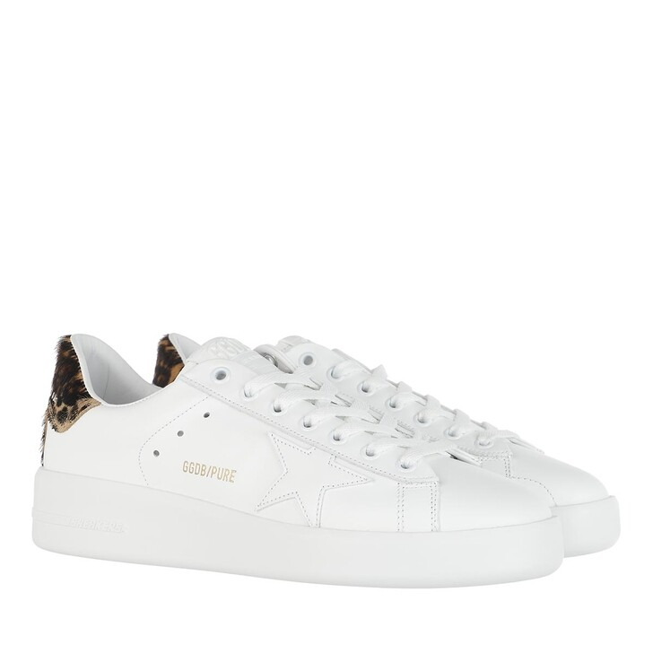 Schuh, Golden Goose, Purestar Low Sneakers White/Brown Leo