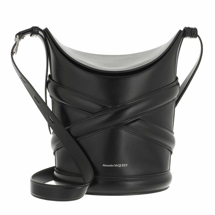 bags, Alexander McQueen, Bucket Bag Leather Black
