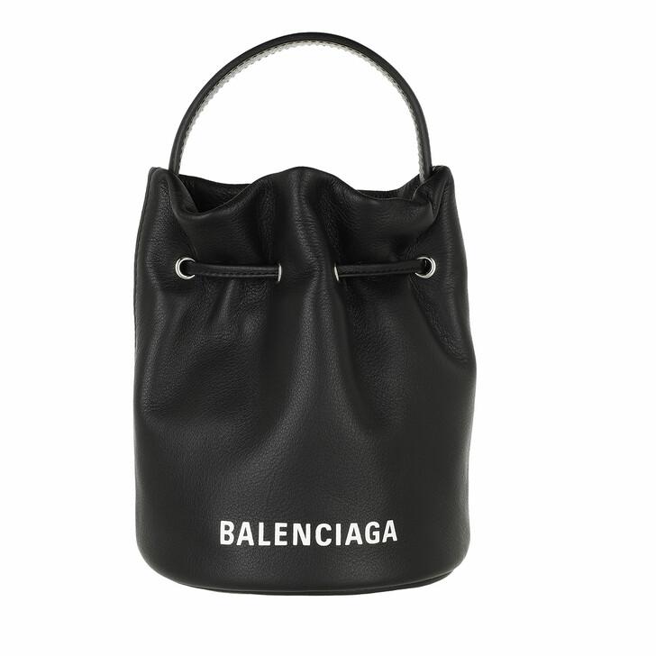 Handtasche, Balenciaga, Everyday Drawstring Bucket Bag XS Black/White