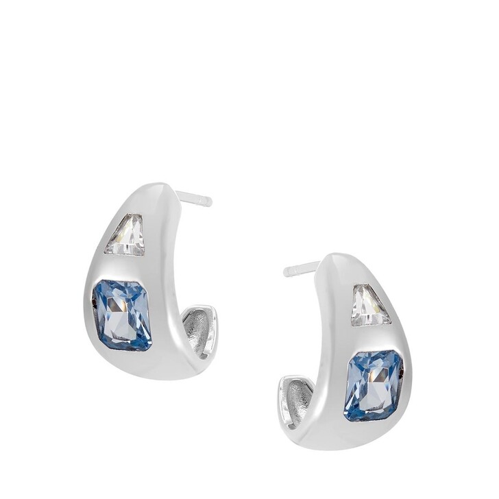 Ohrring, V by Laura Vann, Diana Small Chubby Hoop Earrings Silver/Spinel Blue Stone