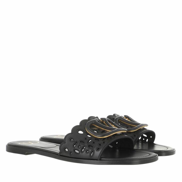 shoes, Valentino Garavani, Signature VLogo Flat Sandals Black