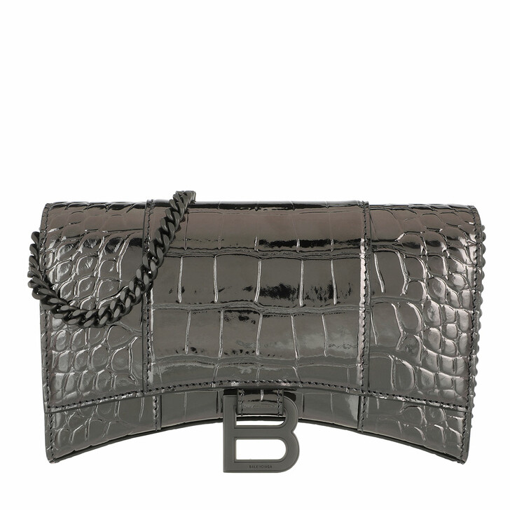 Geldbörse, Balenciaga, Hourglass Mini Wallet On Chain Embossed Croc Gun Metal