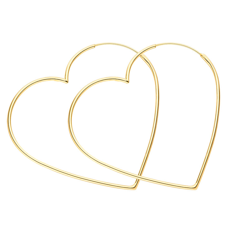 Ohrring, Leaf, Creole Heart Silver Gold-Plated