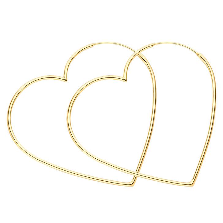 earrings, Leaf, Creole Heart Silver