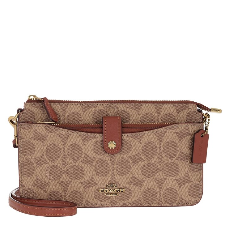 Handtasche, Coach, Signature Coated Canvas Crossbody Bag Beige