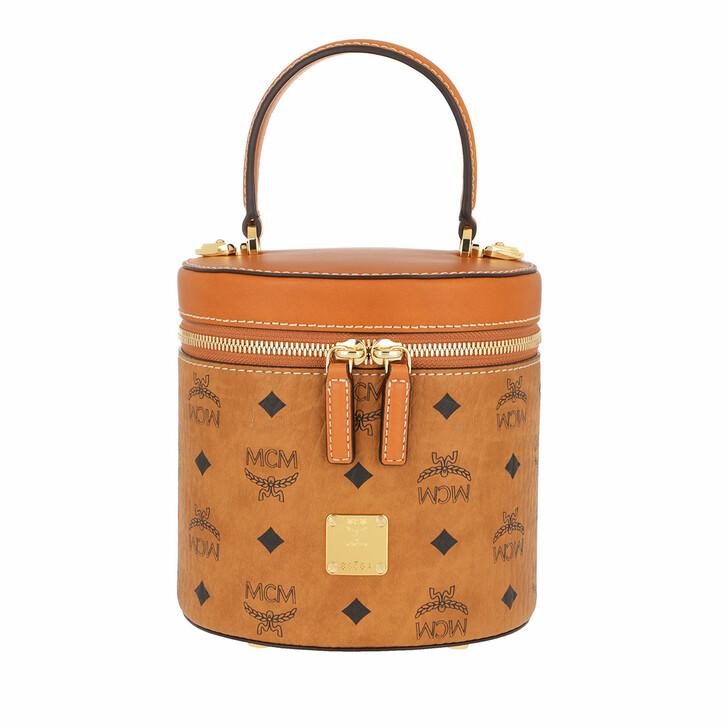 Handtasche, MCM, Cylinder Visetos Crossbody Small  Cognac