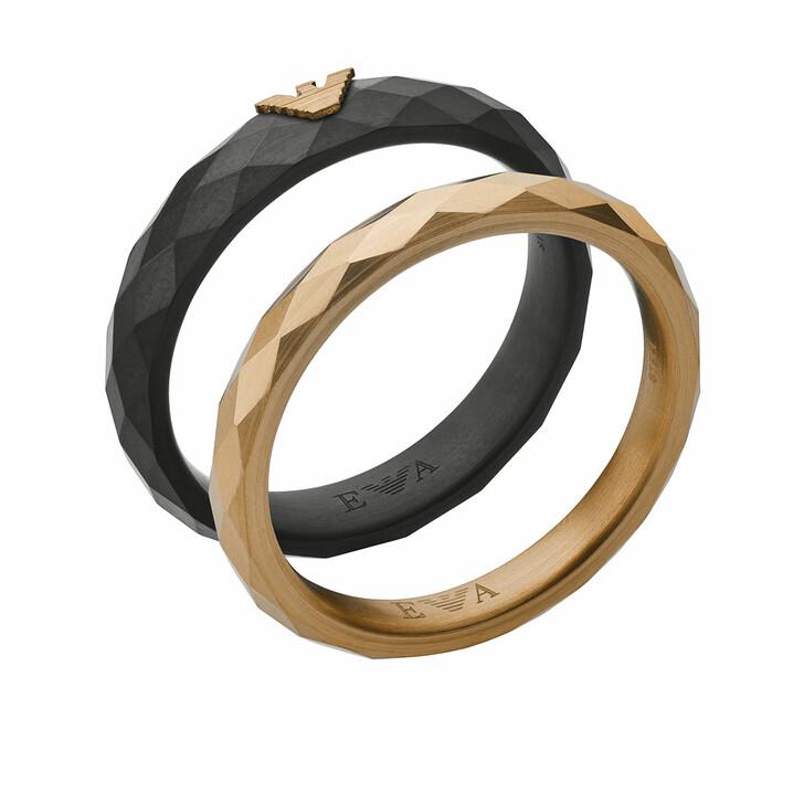 Ring, Emporio Armani, Men Faceted Stainless Steel Ring Set Black