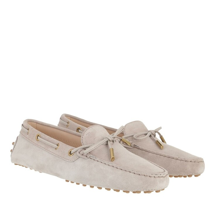 Schuh, Tod's, Heaven Loafer With Eyelets And Lace Bow Stone Honey