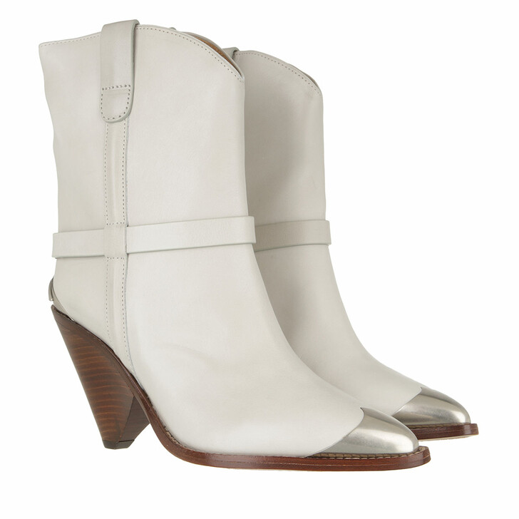 Schuh, Isabel Marant Étoile, Lamsy Heeled Ankle Boots Leather Chalk