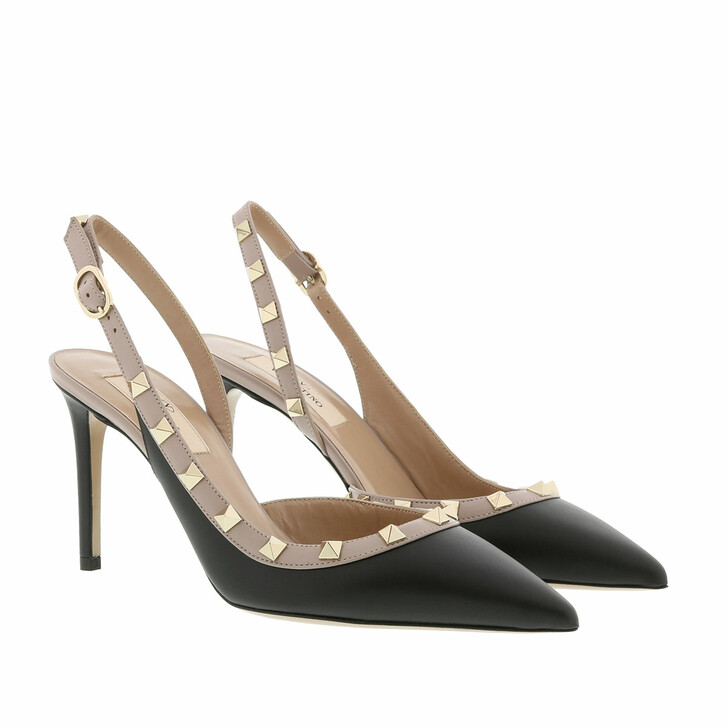 Schuh, Valentino, Sling Back Pumps Leather Nero/Poudre