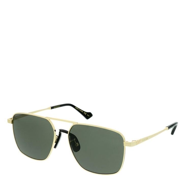 Sonnenbrille, Gucci, GG0743S-001 57 Sunglasses Gold-Gold-Grey