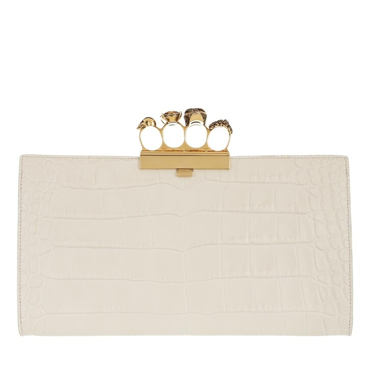 Handtasche, Alexander McQueen, Clutch Leather White Bone