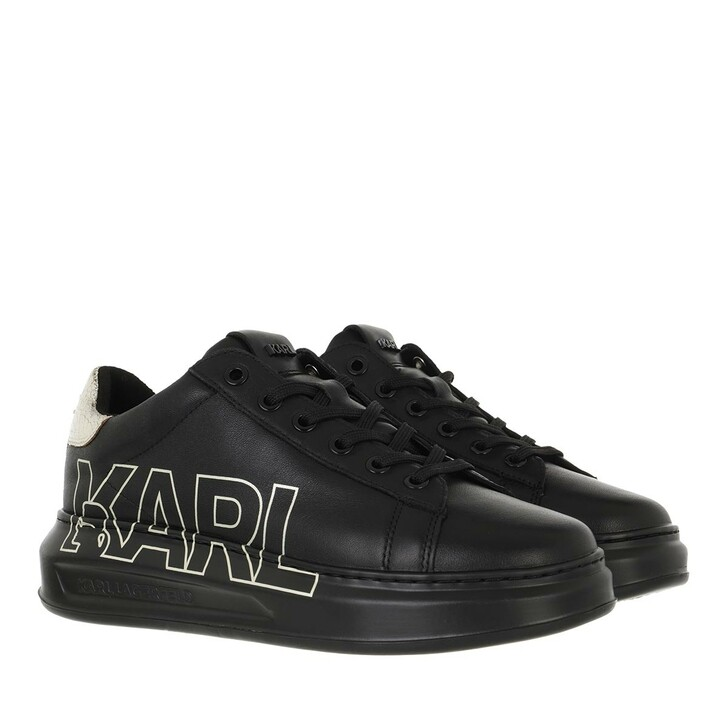 shoes, Karl Lagerfeld, KAPRI Karl Outline Logo Black Leather with Gold