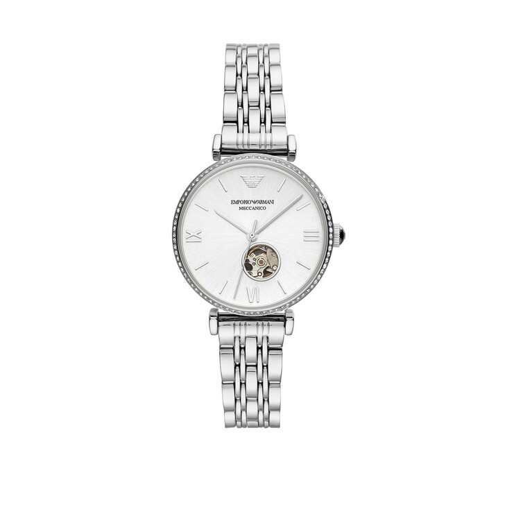 Uhr, Emporio Armani, Emporio Armani Three-Hand Stainless Steel Watch Silver