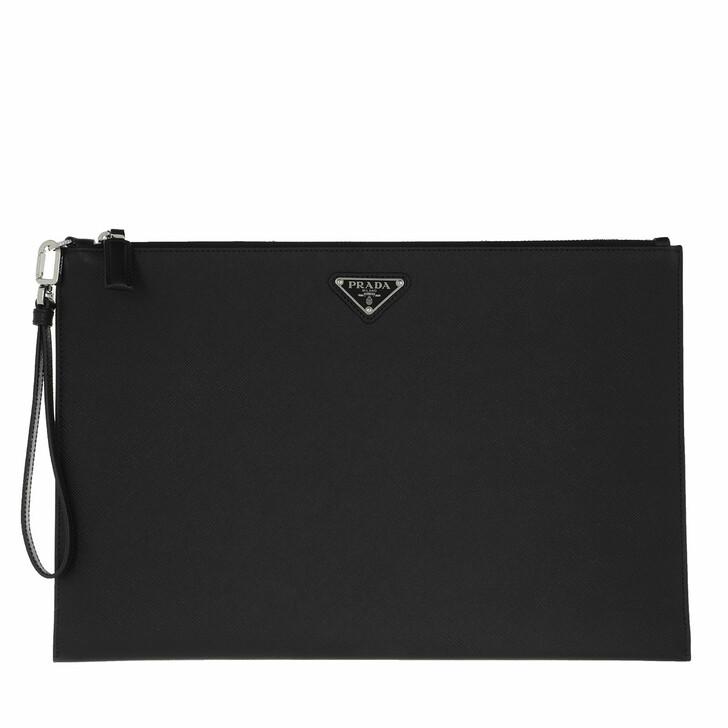 Handtasche, Prada, Men Clutch Leather Black