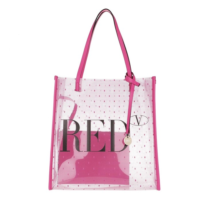 bags, Red Valentino, Small Tote Trasparente Glossy Pink