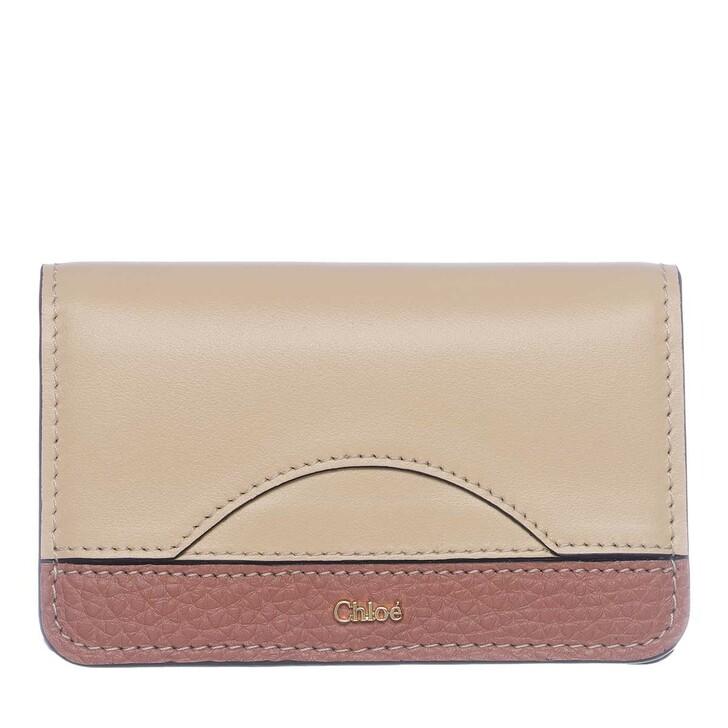 wallets, Chloé, Card Holder Leather Wooden Beige