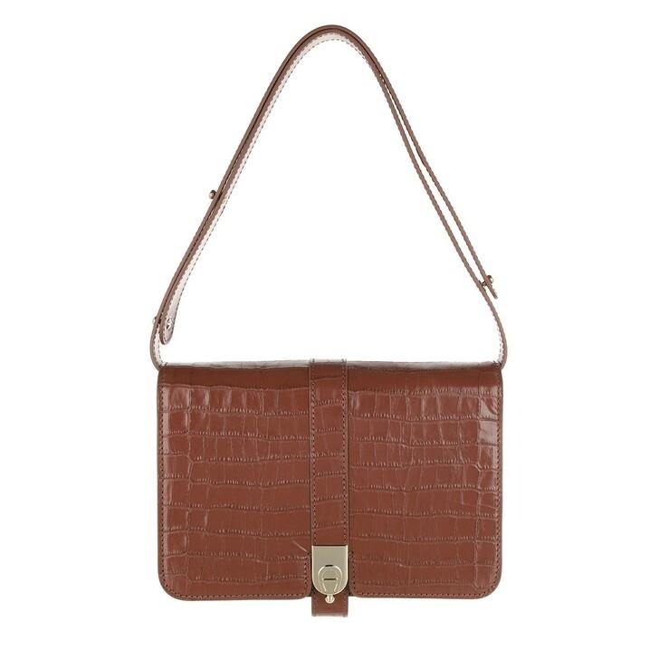 Handtasche, AIGNER, '79 Crossbody Bag Embossed Croc Walnut Brown