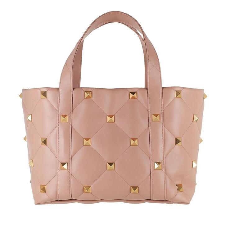 bags, Valentino Garavani, Roman Studs The Tote Bag Leather Rose