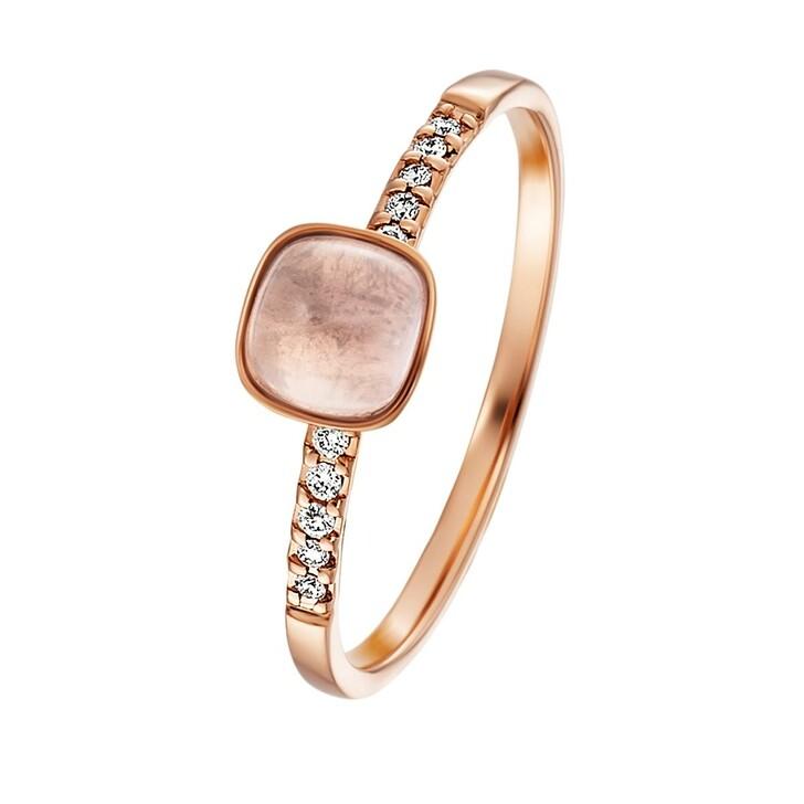 rings, BELORO, Stacking Ring Diamond Rose Quartz 14k Small Rose Gold