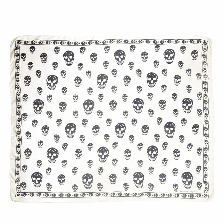 scarves, Alexander McQueen, Skull Scarf 104X120 Ivory/Black