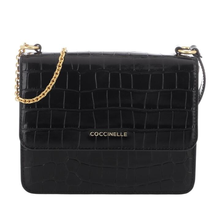 Handtasche, Coccinelle, Anne Croco Shiny Soft Crossbody Leather Noir