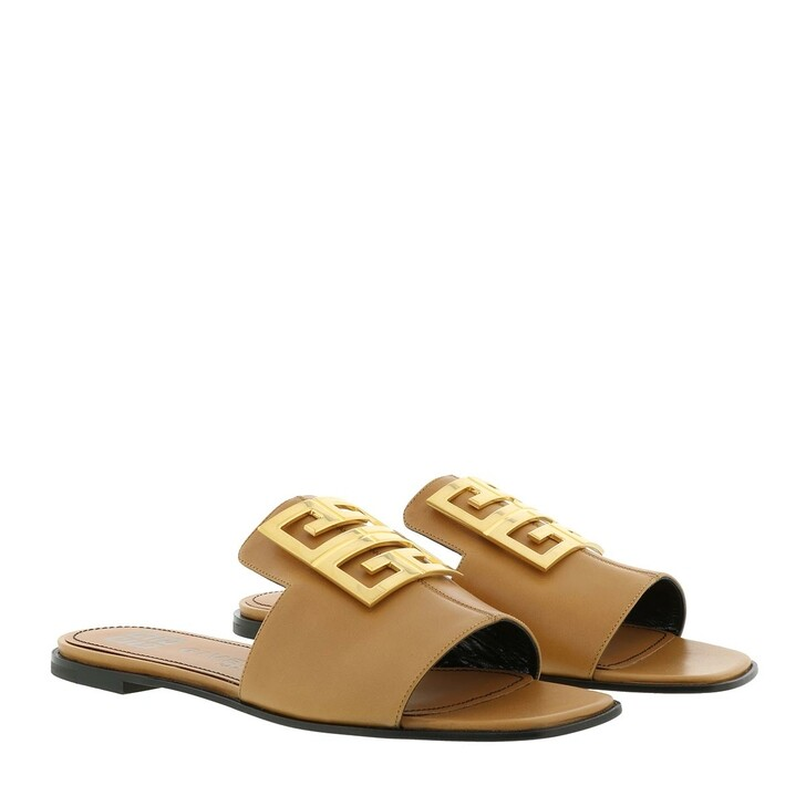 Schuh, Givenchy, 4G Flat Sandals Leather Brown