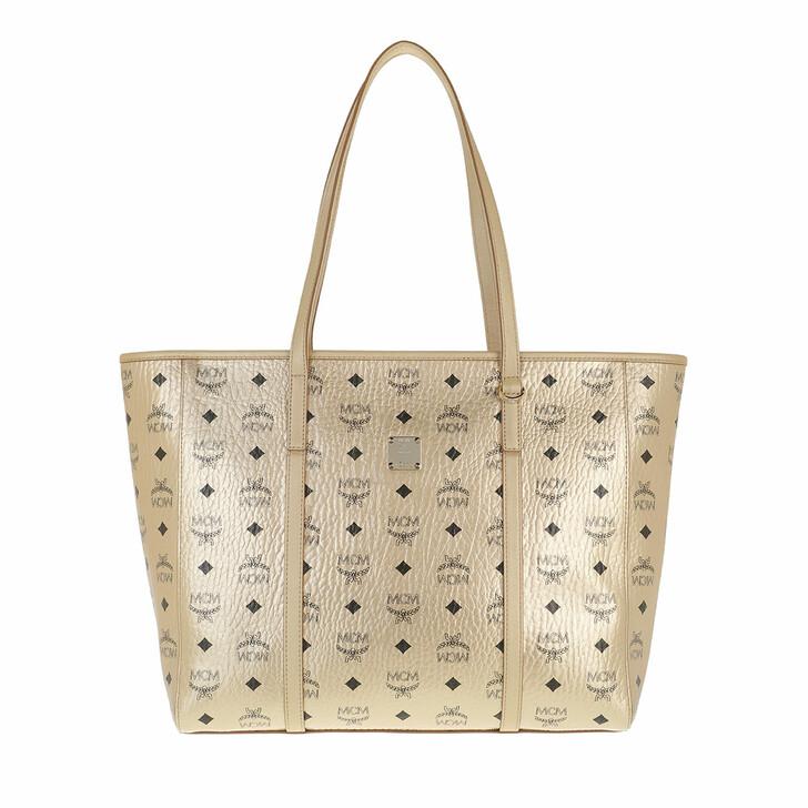 bags, MCM, Toni Visetos Metallic Ew Shopper Medium Berlin Gold
