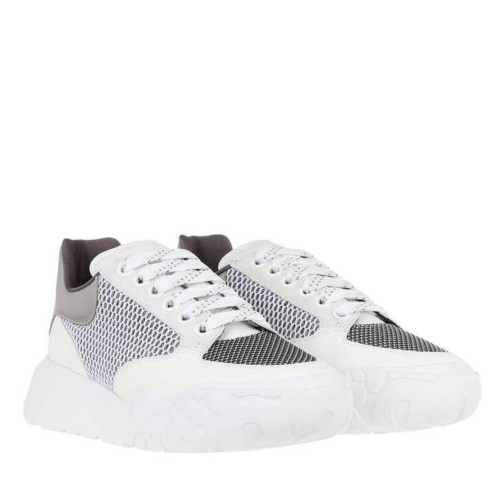 Schuh, Alexander McQueen, Knit Low Top Sneakers  White/Black/Silver