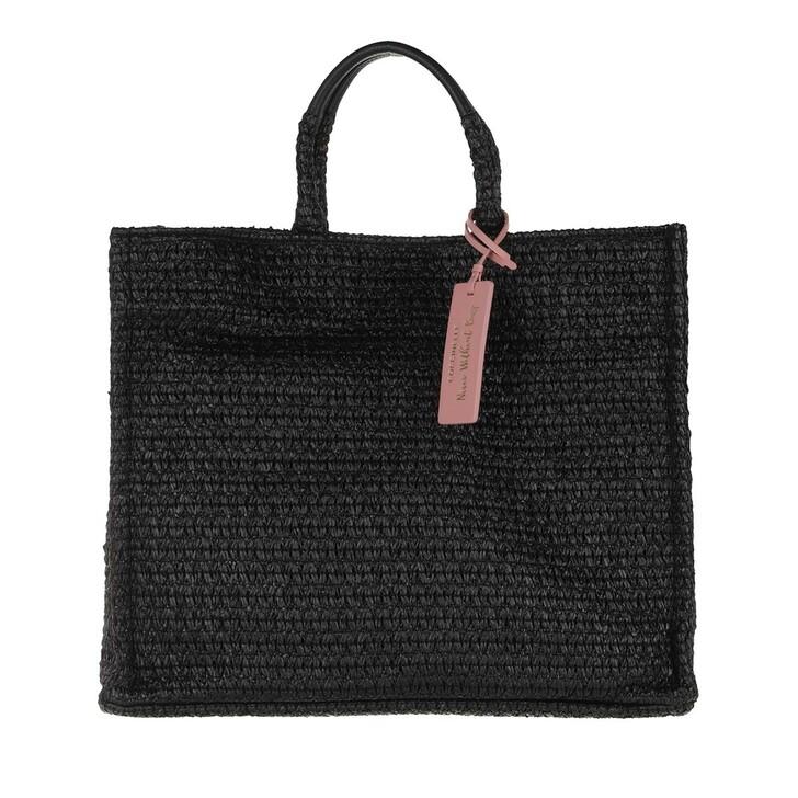 bags, Coccinelle, Handbag Straw Fabric Noir