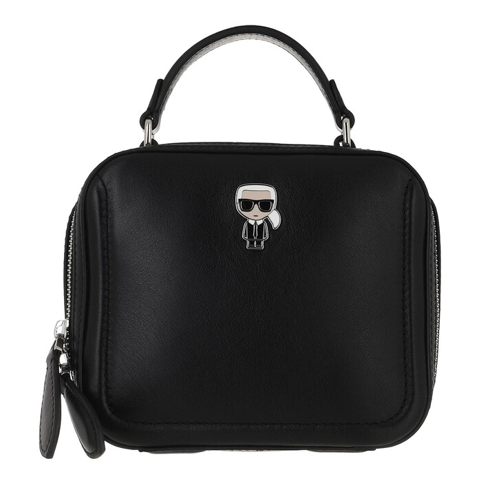 bags, Karl Lagerfeld, Ikonik Leather Crossbody  Black