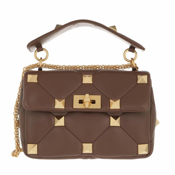 bags, Valentino Garavani, Roman Stud Medium Crossbody Bag Leather Teak Brown