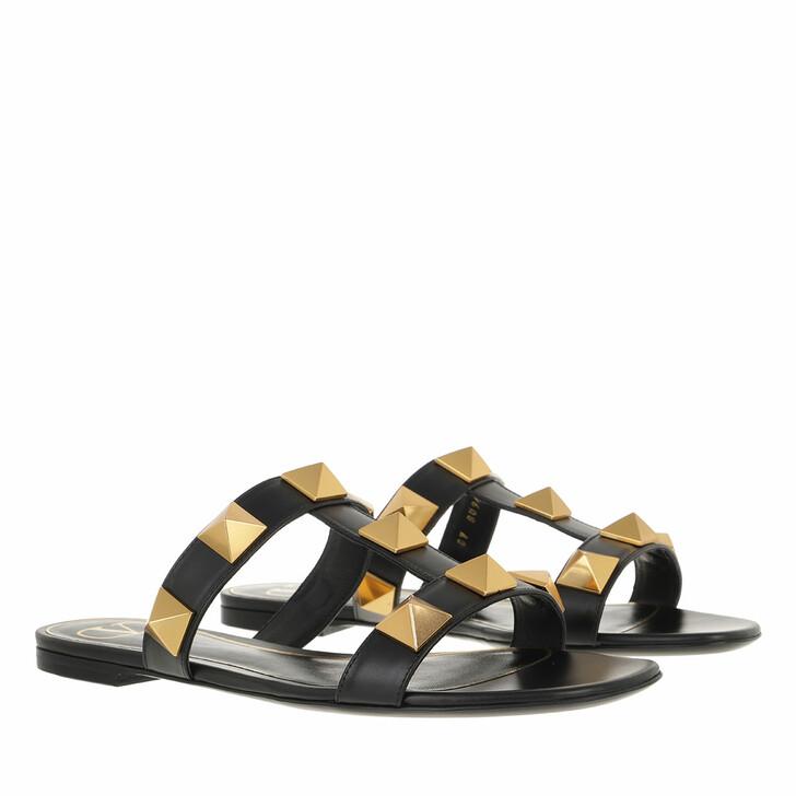Schuh, Valentino Garavani, Roman Stud Slide Sandals Black