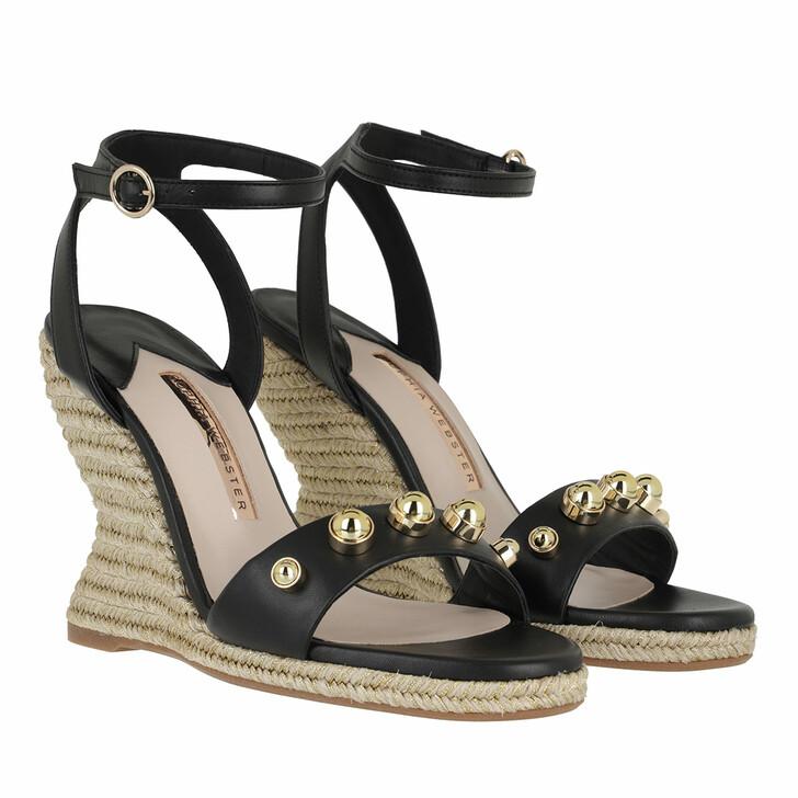 Schuh, Sophia Webster, Dina Stud Mid Espadrille Leather Black & Gold