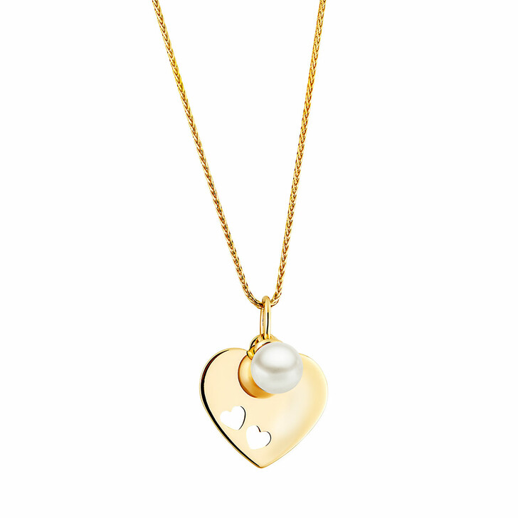 necklaces, BELORO, Pendant/Chain 375 1 Akoya Culture Pearl 5,0 - 5,5  Yellow Gold