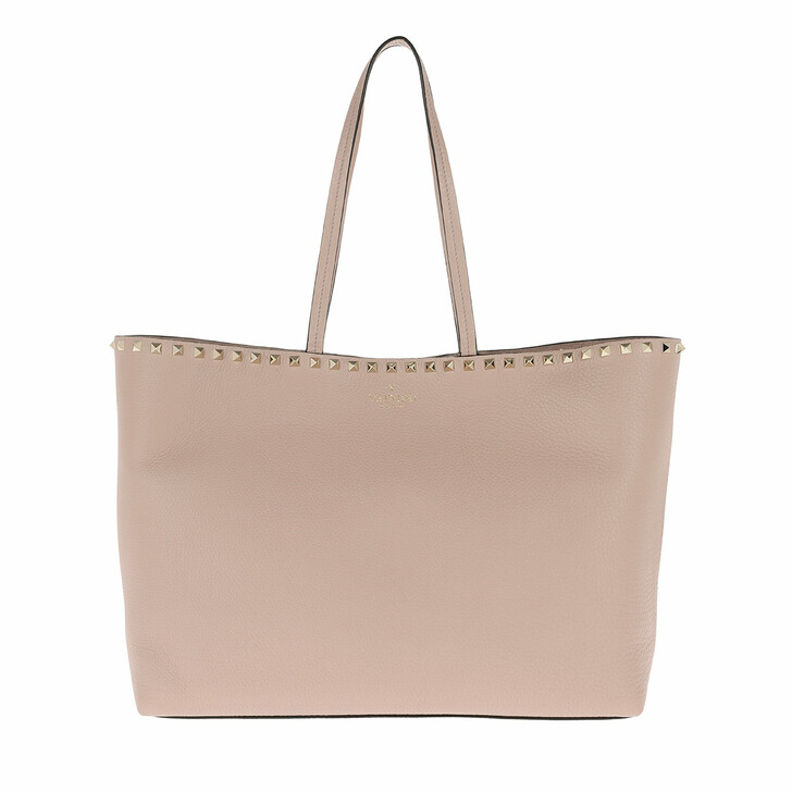 Handtasche, Valentino, Rockstud Studded Shopping Bag Leather Poudre