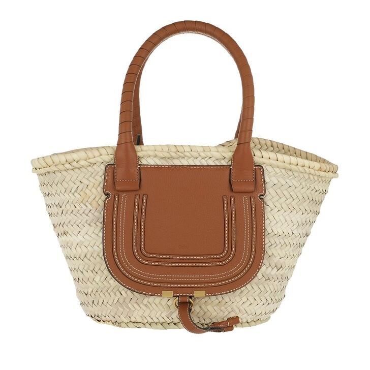 bags, Chloé, Marcie Carryall Basket Bag Calfskin Tan