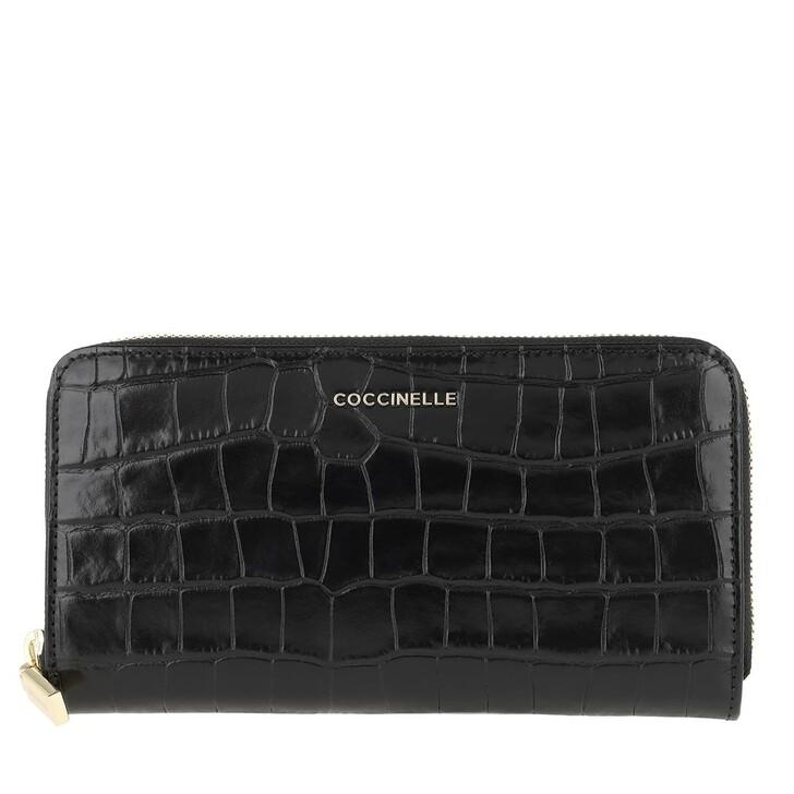 Geldbörse, Coccinelle, Metallic Croco Shiny Soft Noir