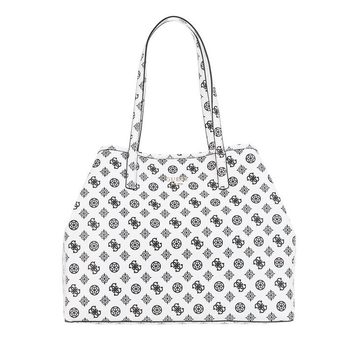 bags, Guess, Vikky Large Tote Bag White Black