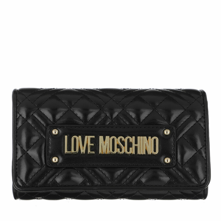 wallets, Love Moschino, Wallet Quilted Nappa   Nero