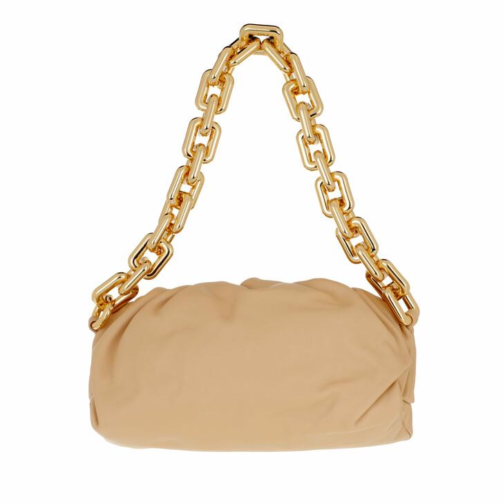 bags, Bottega Veneta, The Chain Medium Pouch Leather Almond/Gold